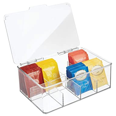 mDesign Stackable Plastic Tea Bag Holder Storage Bin Box with Clear Top Lid for Kitchen Cabinets, Countertops, Pantry - Holds Beverage Bags, Cups, Pods, Packets, Condiments - Clear