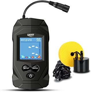 LUCKY Portable Fish Finders Wired Transducer Kayak Fish Finder Kit Portable Depth Finder LCD Display for Kayak Boat Ice Fi...