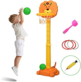 Costzon Basketball Hoop Set Stand, Kids 3-in-1 Sports Activity Center with Darts and Ring Toss Play Set, Adjustable Height 4.7Ft-5.2Ft, Best Gift for Kids (Cute Tiger)