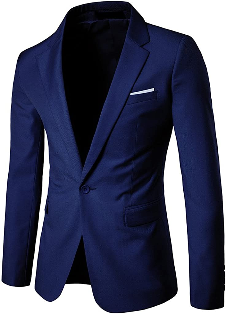 REYUY Men's Slim Fit Notched New York Mall San Francisco Mall Suit Lapel Blazers Business Jacket
