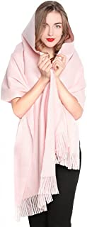 REEMONDE Women Oversized Large Ultra Soft Warm Cashmere Lambswool Pashmina Wrap Shawl Stole Scarf (Baby Pink)