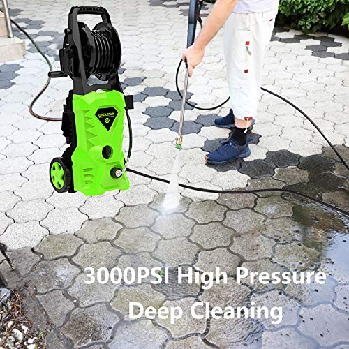 WHOLESUN 3000PSI Electric Pressure Washer 2.4GPM Power Washer 1600W High Pressure Cleaner Machine with 4 Nozzles Foam Cannon,Best for Cleaning Homes, Cars, Driveways, Patios (Green)