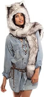 Animal Faux Fur Hood Hat 3-in-1 Mittens Scarf Rave Spirit Paws Ears