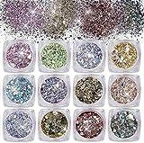 Glitter per Unghie in Polvere,Paillettes per Unghie 12 Colori Glitter Olografiche Brillantini Ultra Sottili Iridescenti Paillettes per Unghie Corpo Viso