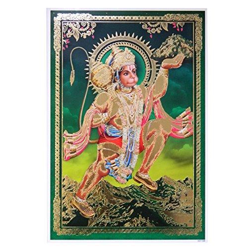 Bild Hanuman 33 x 48 cm grün Gottheit Hinduismus Kunstdruck Plakat Poster Gold Religion Spiritualität Dekoration
