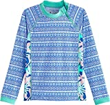 Coolibar UPF 50+ Girl's Wavechaser Zippy Rash Guard - Sun Protective (Small- Marlin Blue Mosaic Tile)