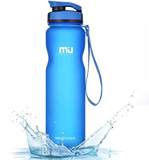 Sports Water Bottle Leak Proof BPA Free Eco Friendly Tritan Plastic Drink Water Bottles for Hiking, Camping, Running, Gym with Flip Top Lid & Measurements by MIU COLOR