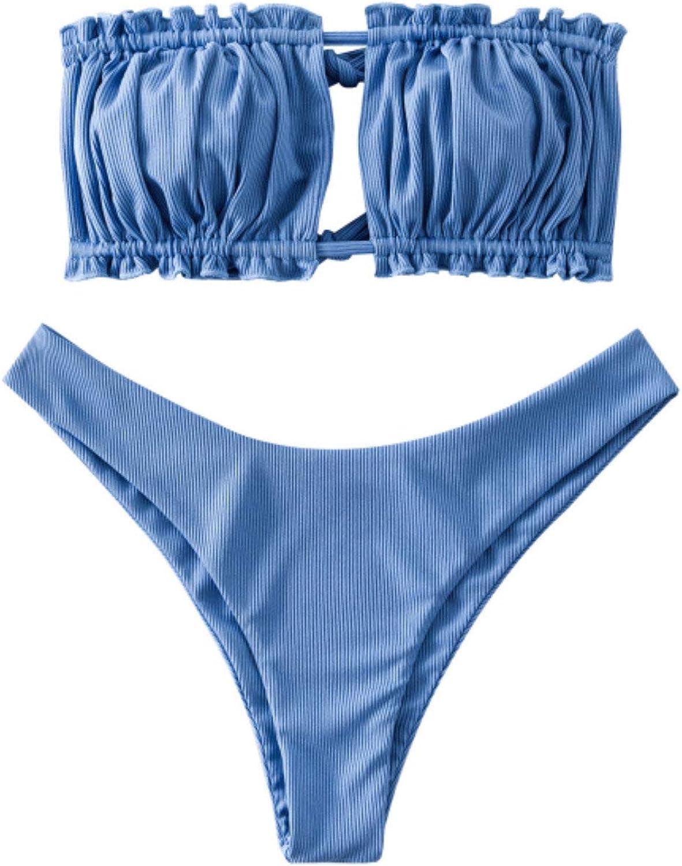 ZAFUL Women's Sexy Ruffle Tie Side Bandeau Bikini Set High Cut Strapless Padded Solid Bathing Suit