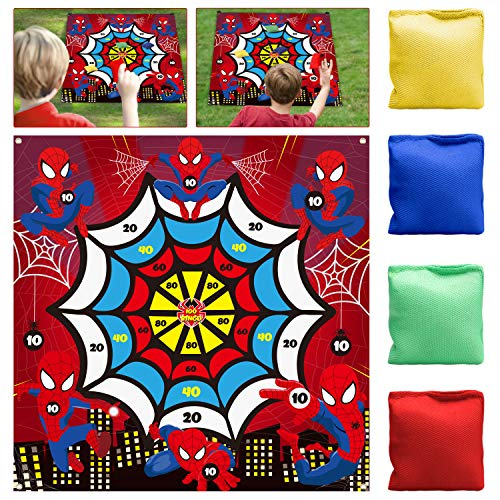 PANTIDE Spiderman Lawn Darts Game with 4 Bean Bags, Fun Family Party Game Activities for Indoor Outdoor Backyard Floor, Superhero Themed Throwing Toss Games Dart Board Game Score Backdrop