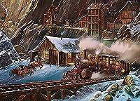 ジグソーパズル500ピース木製Shimaier 油絵 森の風景 車 電車ジグソーパズル500ピース木製Shimaier