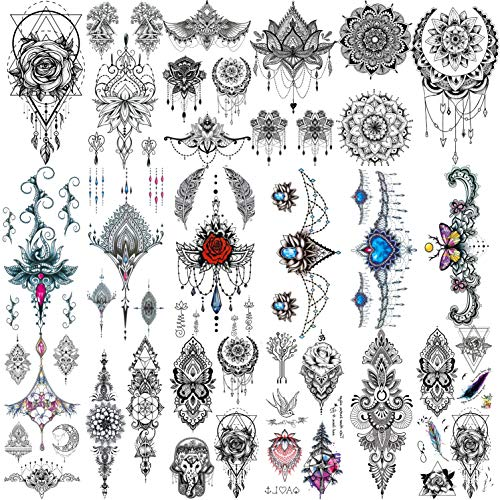 Yezunir 18 Sheets Sexy Black Henna Pendants Temporary Tattoos For Women Lace Hanna Lotus Mandala Mehndi Fake Jewelry Tattoos Temporary Arm Hand Chest Temp Tatoos Wedding Bride Rose Flower Hena Sticker