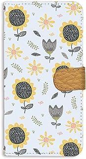 手帳型 ミラータイプ スマホケース LG isai vivid LGV32 用 [ひまわり・ブルー] 北欧柄 花柄 向日葵 エルジー イサイ ビビッド au スタンド スマホカバー 携帯カバー sunflower 00r_208@02m
