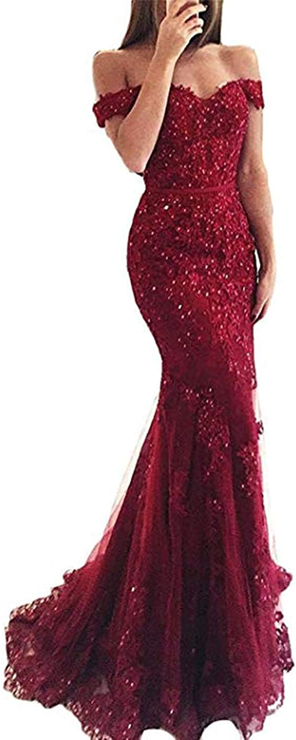 Yisha Bello Womens Off Shoulder Beaded Mermaid Evening Formal Dress 2018 Long Tulle Prom Gowns