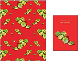 Spouts Greetings Card and 1 Sheet of Festive Sprouts Gift Wrap Wrapping Paper