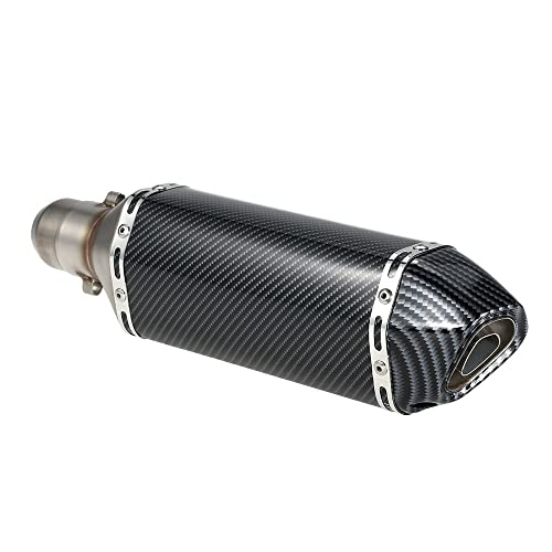 KKmoon Silenciador de Tubo de Escape 38-51mm Small Hexagon Cola Oblicua Style para Moto
