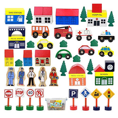 On Track USA Wooden Train Set Accessories, Modern City Town 50 Piece Train Track and Railroad Accessories Set, Comes in A Clear Container, for Kids Boys and Girls, Compatible with All Major Brands