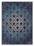 Anji Mountain Brushed Wave Area Rug, 3 x 5-Feet, Blue/Ivory
