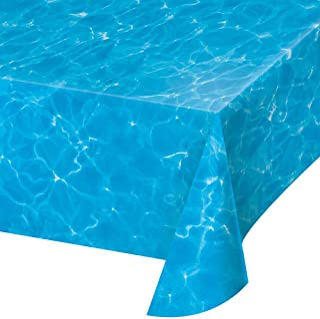 "Creative Converting TABLECOVER PL 54"" X 108"" AOP Plain Water Print Plastic Tablecloth, 54 x 108, Multicolor"