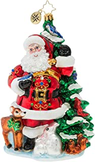 Christopher Radko Hand-Crafted European Glass Christmas Decorative Figural Ornament, Santa's Menagerie of Friends
