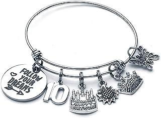 Birthday Gifts for Women Girls Bracelet, Happy Birthday Charm Bracelets for Women 10th 16th 20th 21st 30th 40th 50th 60th ...