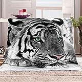 Manta con Estampado Tigre Animal Gris Mantas para Sofa Manta de Microfibra Franela Throw de Microfibra Suave cálida y sólida para Cama sofá y Viaje 180x200cm