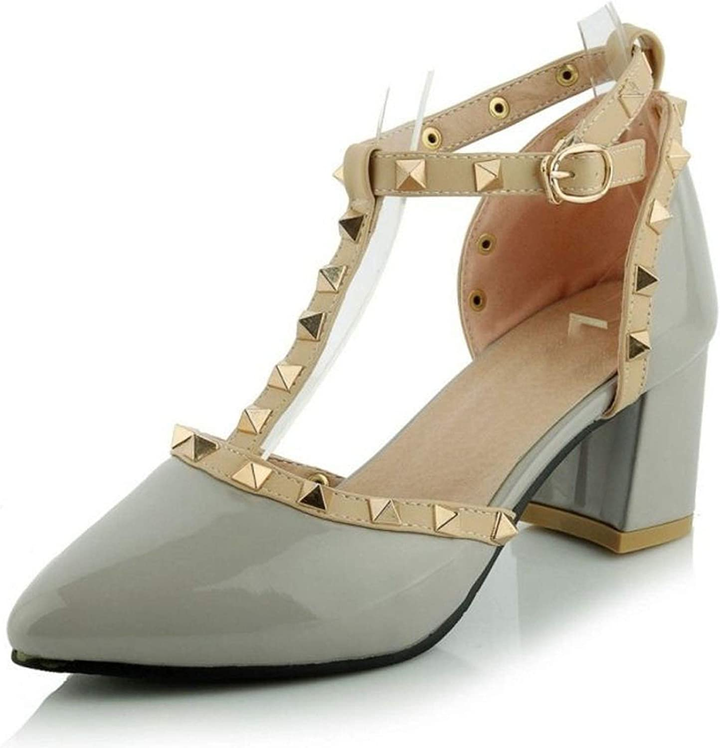 Women Middle Heels shoes Women Square Heel Sandals Ankle Wrapped Pointed Toe Rivets Quality Casual shoes Size 31-44