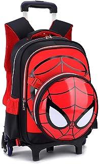 Spiderman Printed Elementary Trolley Mochila Escolar Rolling Bag Primary Wheeled Book Bag para NiñOs Y NiñAs Mochila Trolley para NiñOs De 5 A 12 AñOs Black- 6 Wheels