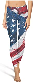 Cute Yoga Pants for Womens Capri Leggings American Flag Art Sport Workout Running Legging Girls Tights