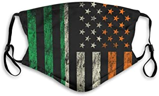 Irish Americans Flag Mask Anti Dust Pollution Mask,Washable PM2.5 Face Mask With Adjustable Straps Mask