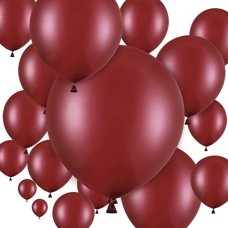 100 Globos de Látex de Fiesta de 18 Pulgadas 12 Pulgadas 10 Pulgadas 5 Pulgadas para Decoración de Fiesta de Globos de Novia Cumpleaños Boda Baby Shower Navidad Halloween (Vino Rojo)