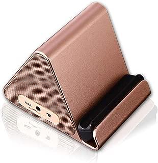 GLJJQMY Wireless Bluetooth Speaker Creative Phone Holder Bluetooth Speaker Surround Sound HiFi Sound Effect (Color : Gold)