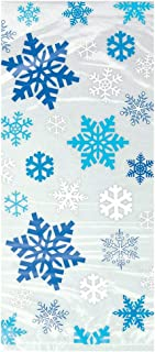 Shatchi 6274-CELLO-BAG-SNOWFLAKE-CLEAR 20 Christmas Xmas Snowflake Cellophane Cello Display Party Sweet Favour Bags with Ties, Cream/Blue