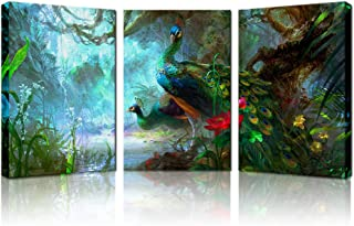 Biuteawal - Animal Wall Art Painting Beautiful Peacocks Near Pool with Red Lotus in The Forest Picture Print on Canvas 3 Panel Peacock Artwork Stretched for Modern Home Decoration