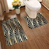 Juego de alfombras de baño de franela suave y cómoda, diseño Art Nouveau Art Deco dorado y negro, antideslizante, lavable, 2 unidades