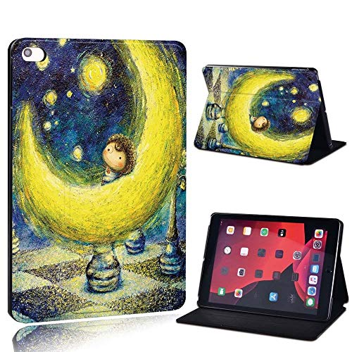lingtai For Ipad 2 3 4 5 6 7/Air 1 2 3/Pro 11 2018 2020 Pu Leather Tablet Stand Folio Cover Ultrathin Painting Colors Slim Case (Color : Moon, Size : 8th Gen (2020))