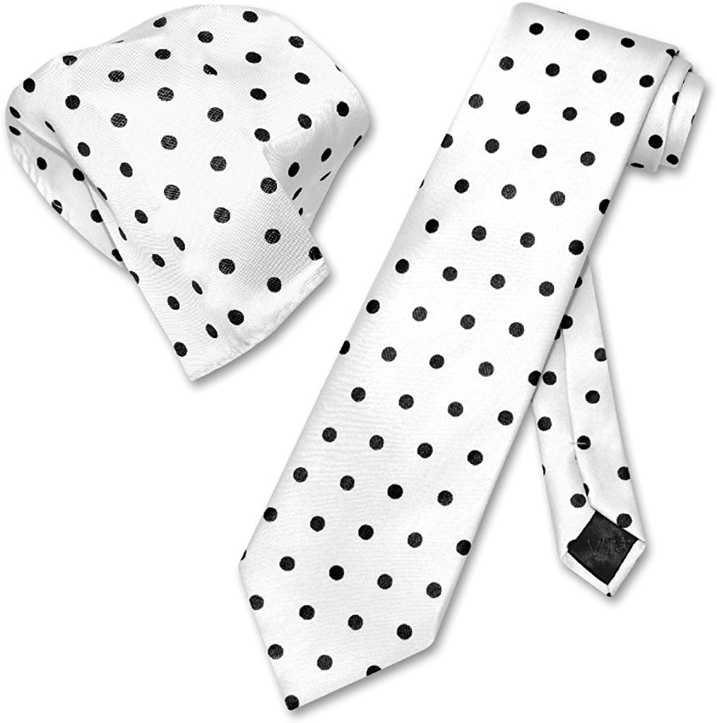Vesuvio Napoli WHITE w/BLACK Polka Dots NeckTie Handkerchief Matching Tie Set