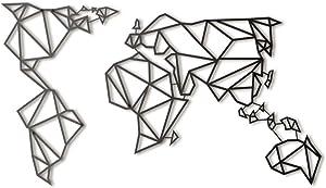 Hoagard Metal World Map Black Weltkarte aus Metall Schwarz | 60cm x 100cm | Geometrische Metallwandkunst, Wanddekoration