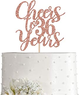 36 Rose Gold Glitter Cheers to 36 Years Cake Topper, Happy 36th Birthday Party Toppers Decorations, Supplies
