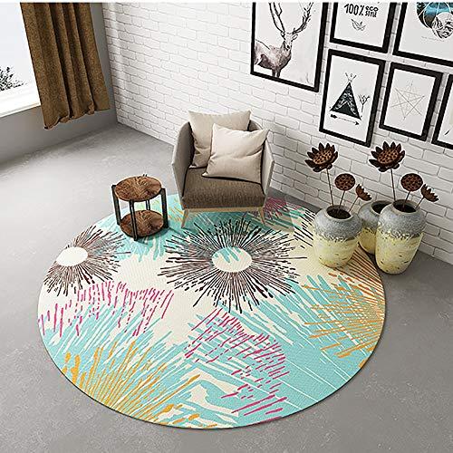 Bürostuhlunterlage Stuhlunterlage rutschfest, Runder Stuhl Bodenschutzmatte für Arbeitszimmer zu Hause, Blaue Bürostuhl Unterlage mit Farbigem Feuerwerksmuster,80cm