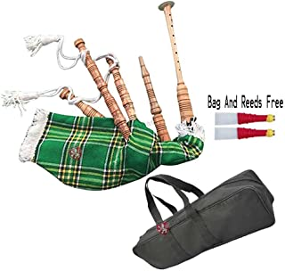 Junior Playable Bagpipe Various Tartan & Wood/Kids Toy Bagpipe Different Tartans (National Irish Tartan)