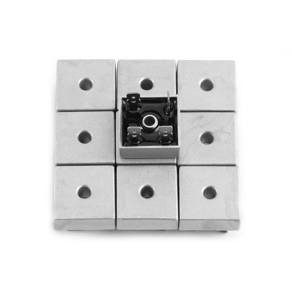 Akozon 10 piezas rectificadores de puente de diodo monofásico KBPC5010 50A 1000V caja de metal de alta potencia