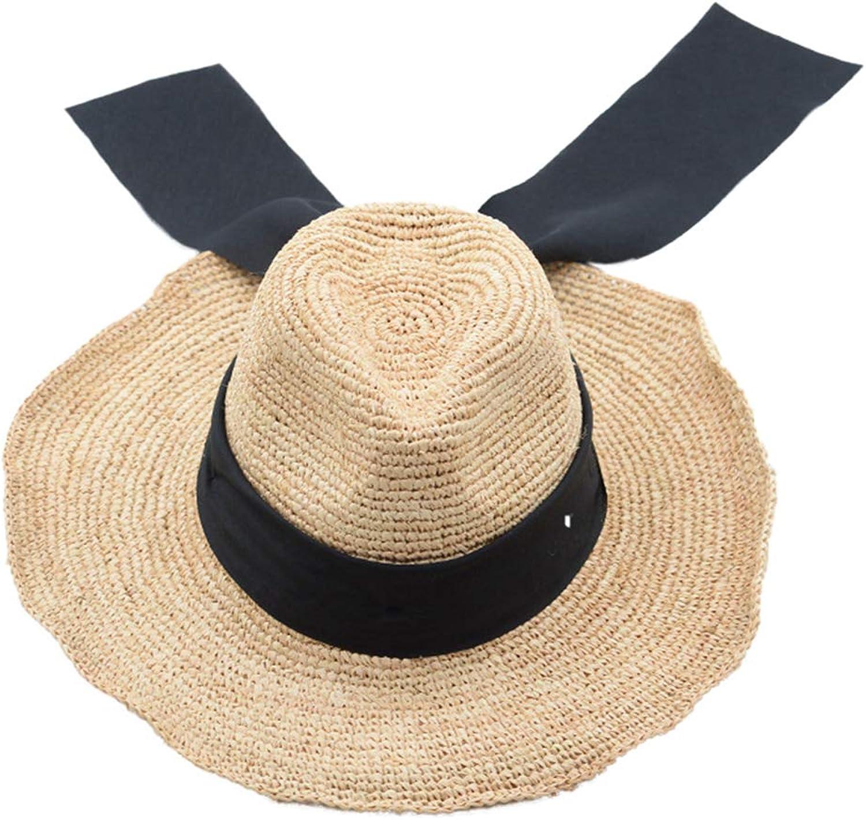 Nafanio Women Floppy Straw Hats Lafite HandMade Outdoor Wide Brim Roll Up Summer Simple Beach Sun Hat