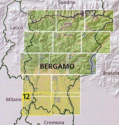Bergamo topographische Wanderkarte 1:25.000, Blatt 12: Südwest Provinz Bergamo, Parco Regionale dell' Adda Sud, Parco Regionale dell' Adda Nord, Cassana d' Adda Treviglio, Arzago d' Adda, Plis del Fiume Tormo, Plis della Gerdadda, Caravaggio, Riserva Natuale Fontanile Brancaleone, Lombardei