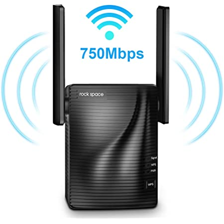 rockspace 750Mbps WiFi Range Extender (RSD0607)-WiFiExtender Supports Dual-Band with Ethernet Port&WPS Button (Black)