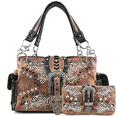 Justin West Buckle Western Floral Damask Embroidery Studs Stars Concealed Carry Handbag Purse (Bronze Purse Wallet Set)