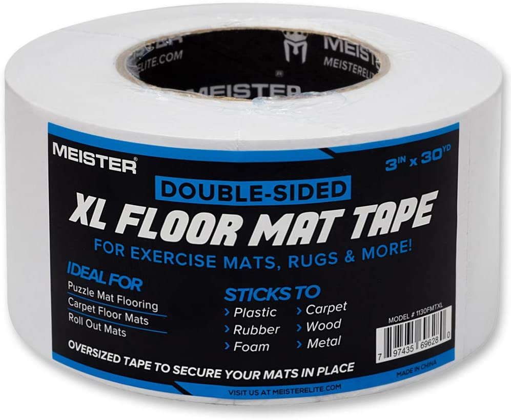 Meister Double-Sided XL Floor Mat Tape - Secures Exercise Mats & Rugs in Place, Transparent, XL Roll - 3in x 30yd (1130FMTXL): Sports & Outdoors