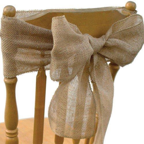 Koyal Wholesale Vintage Rustic Burlap Chair Sash, 6-Pack