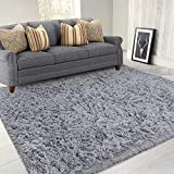 LOCHAS Area Rugs for Living Room, Fluffy Shaggy Super Soft Carpet Suitable as Bedroom Rug Nursery Rugs Kids Mat, Large Floor Mat Furry Plush Rug for Home Decor 120 X 160cm Grey