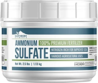 Ammonium Sulfate (Tub, 2.5 lb) by Earthborn Elements, Soil Fertilizer, Rich in Nitrogen, Lowers pH, Inorganic Salt, Improves Plant & Soil Quality, Agricultural Uses, Resealable Tub