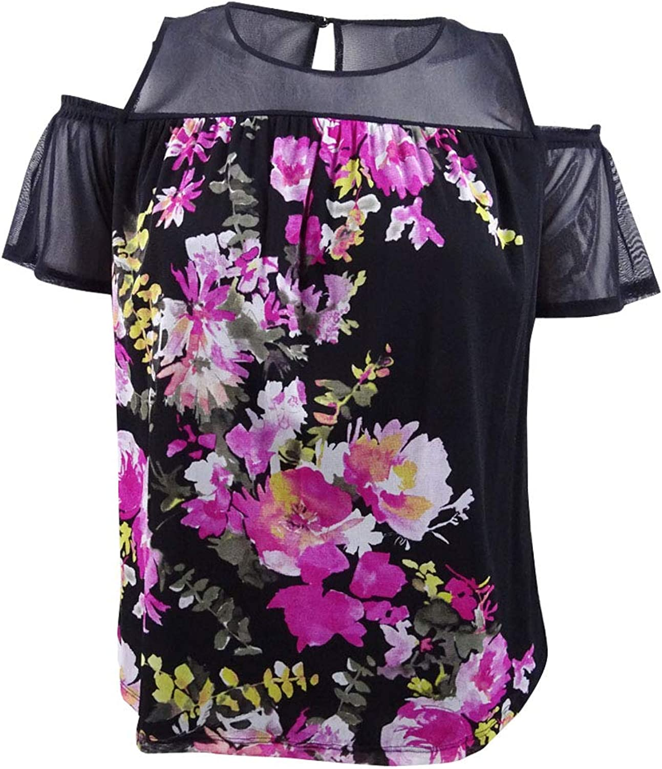Inc Womens Plus Floral Print Cold Shoulder Blouse